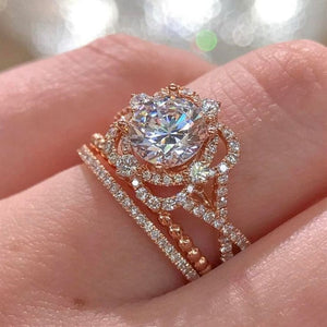 FDLK    Shine Amazing Rose Gold White Crystal Ring Set Bridal Flower Crystal Engagement Wedding band Jewelry for Women Size 5-10