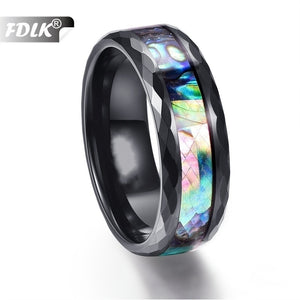 FDLK    Stainless Steel  Ring for Men 8mm Black Domed Mens Wedding Engagement Ring US Size 6-13