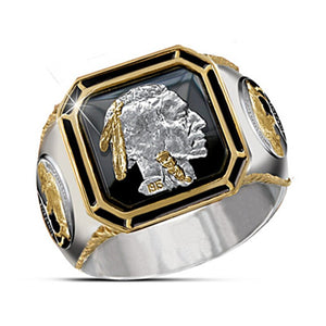 FDLK  Unique Men's Copper Two Tone Ring Indian Honorary Chieftain Fashion Indian Jewelry Gold Bull Ring For Boys