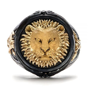 FDLK    Unique Men's Fashion Black Ring Africa Grassland Lion Jewelry Father's Day Anniversary Gift Banquet Party Band Rings