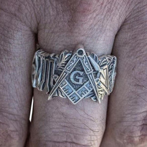 FDLK    Vintage Personality Freemason Rings For Men Masonic Symbol Rings Freemasonry Knights Templar Jewelry Punk Biker Gothic M