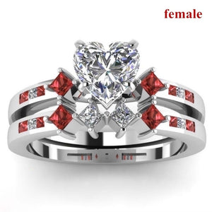 FDLK Women's Zinc Alloy Heart White Rhinestone Ring Bride Engagement Wedding Band Set