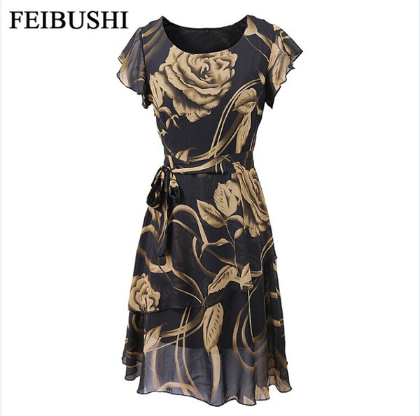 FEIBUSHI Summer Chiffon Dress Large Outer Space Casual Floral Print Women Dress Round Neck Printed Bowknot Chiffon Skater Dress - thefashionique