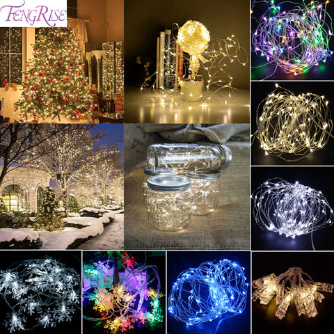 FENGRISE Wedding Lights 5W 2M 5M LED Light Copper Wire Fairy Strings Festive Lantern Wedding Decoration Event Party Supplies