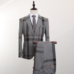 FOLOBE Fashion Grey Plaid 3 PCS Mens Suits Wedding Groom Plus Size Slim Fit Casual Tuxedos Formal Business Suit Male - thefashionique