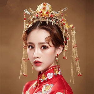 FORSEVEN Bridal Bride Golden Headwear Set Chinese Phoenix Tiara and Crowns Coronet Hair Ornament Wedding Jewelry Accessories