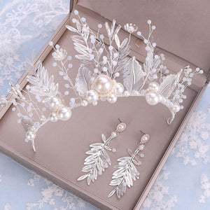 FORSEVEN Silver Color Pearl Flower Leaf Crystal Tiara Crown Earrings Jewelrys Set Headpiece Bride Noiva Wedding Hair Accessories