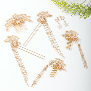 FORSEVEN Vintage Gold Color Flower Pearls Hairpins Sticks Hair Combs Pendant Earrings Jewelry Sets Chinese Hair Accessories