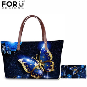 FORUDESIGNS 3D Beauty Butterfly Animal Handbags Set Women Casual Shoulder Bags Large Capacity Messenger Bag for Lady 2pcs Travel - thefashionique
