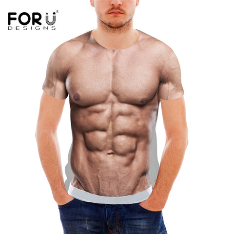 FORUDESIGNS Funny 3D Muscle Print T Shirt for Men Designer Crossfit Male  Casual Tee Shirts Summer 652b0a1f64d79