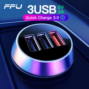 FPU USB Car Charger 3 Ports Quick Charge 3.0 QC3.0 QC Mobile Phone Charger for iPhone Xiaomi Tablet 3A Fast Car Charger Adapter