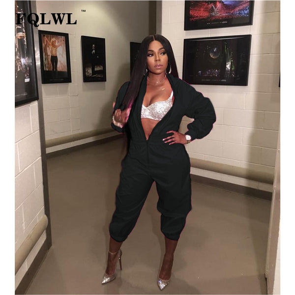 FQLWL Streetwear Rompers Womens Jumpsuit Long Sleeve Pink Black Jumpsuit Female 2018 Casual Bodycon Overalls For Women Playsuit - thefashionique