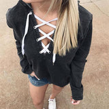 FREE OSTRICH 2018 Women's Sweatshirt Plus Size Hoodies Pullover Hooded Long Sleeve Deep V Neck Moletom Feminino Oct16 - thefashionique