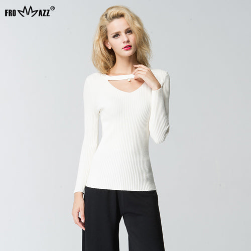 FROMMAZZ Fashion 2018 Women Knitted Beading Hollow Out O-neck Sweaters Pullovers Casual Stretch Long Sleeve Brand Lady Tops - thefashionique