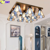 FUMAT Tiffany Style Multi Ceiling Lamp Stained Glass Chandelier Nordic Light Decor Handcraft Art Loft Classical Lighting Fixture
