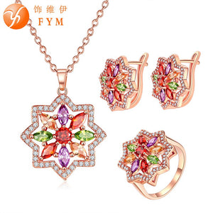 FYM Fashion Wedding Bridal Jewelry Sets Multicolor AAA Cubic Zircon Jewelry Sets & More Rose Gold Color Bijoux Femme - thefashionique