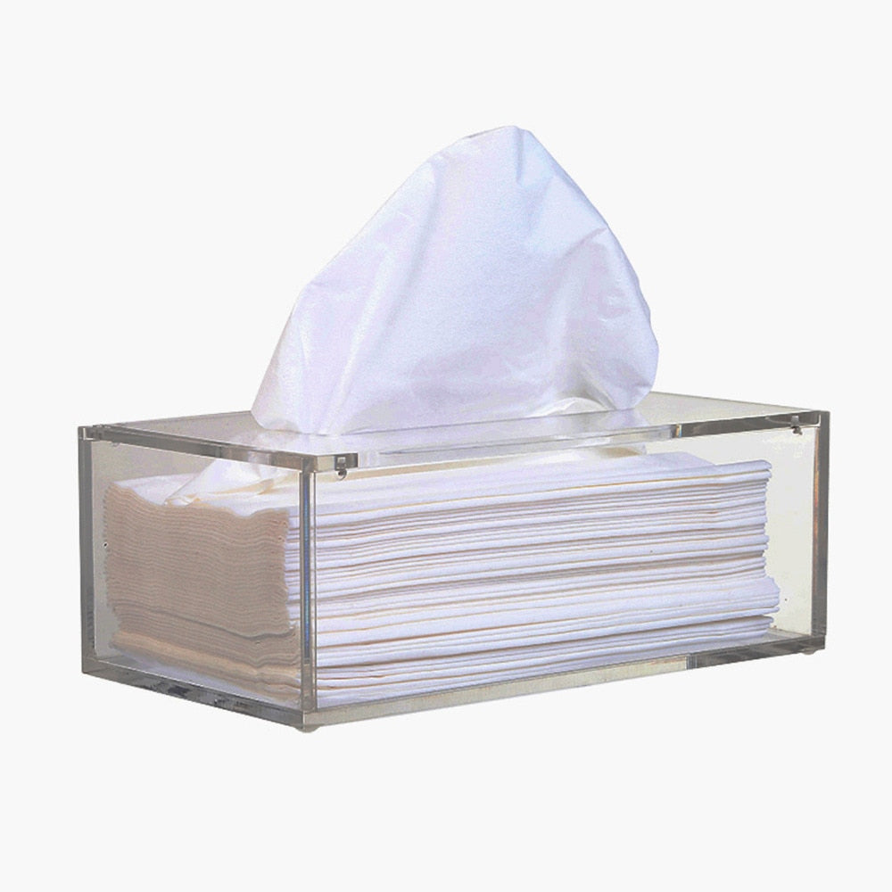 Facial Acrylic Tissue Box, Tissue Holder, Tissue Dispenser with Magnetic Cover - thefashionique