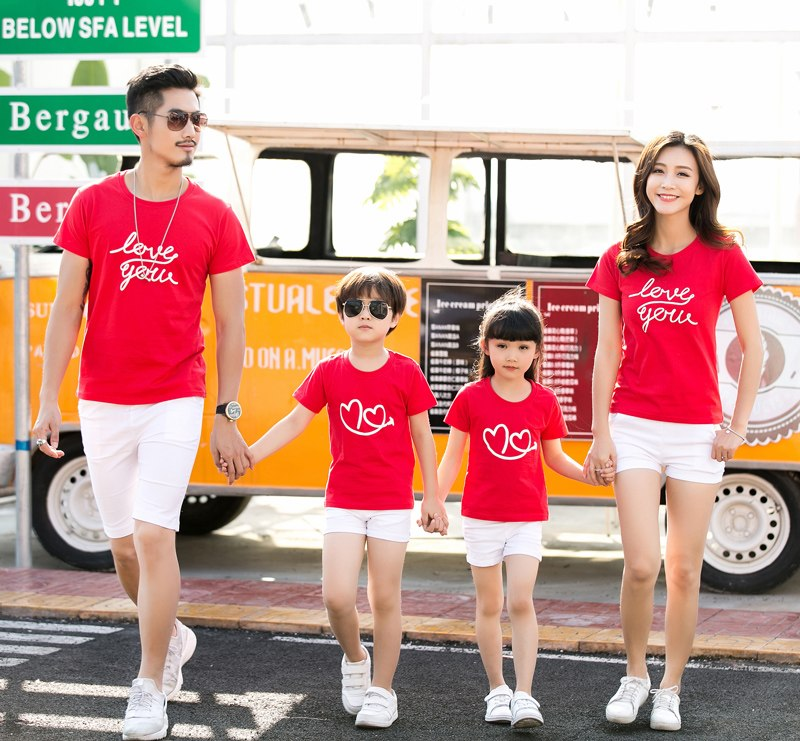 Family Clothes Letter Love Heart Summer Short sleeve T-shirt Matching Family Clothing Outfits For Mother Daughter And Father Son - thefashionique