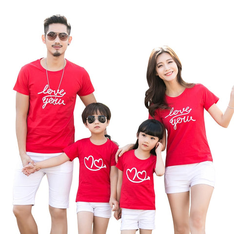 cce680ff Family Clothes Letter Love Heart Summer Short sleeve T-shirt Matching  Family Clothing Outfits For