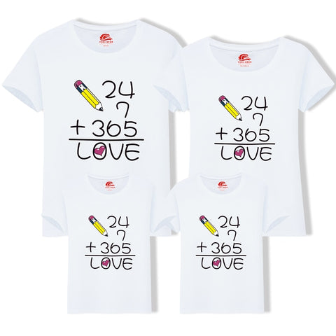 f19e143c Family Matching Clothes Numeral T Shirt Printing LOVE Short-Sleeve Family  Father Son T-