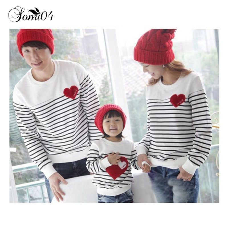 Family Matching Outfits for 3 Families Autumn Clothing 2017 Cotton Red Love Baby Mom Dad Striped Tops Long Sleeve T-Shirt White - thefashionique
