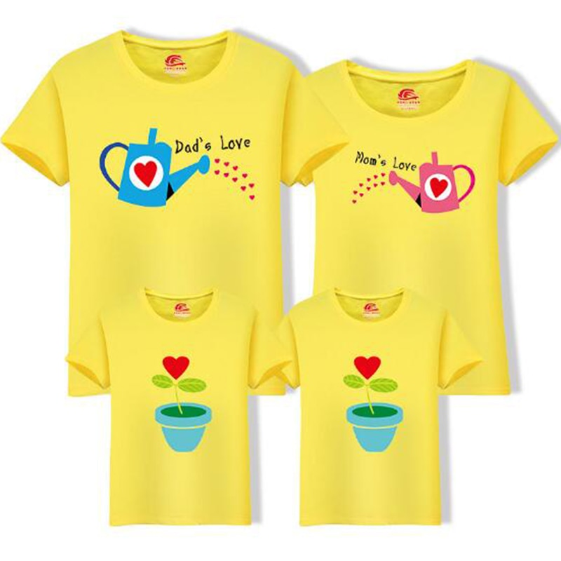Family Mom Baby Set Cultivate Love Summer Short-sleeve T-shirt Matching Family Clothing Outfits For Mother Daughter Father Son - thefashionique