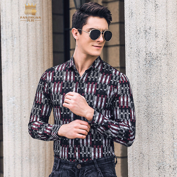 Fanzhuan New Free Shipping men's male man fashion 2019 spring printed slim elastic comfortable slim black versatile shirt 922003