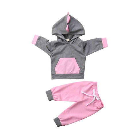 Fashion 2 Pieces Newborn Baby Girls 3D Dinosaur Long Sleeves Tops Cotton Sweatshirt Pants Outfits Clothes Casual