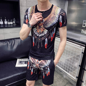 Fashion 2019 New Men's T-shirt Set Personality Eagle Print Casual T-shirt +Shorts Two-piece Men's Sportswear Set Men's T-shirt