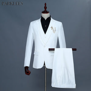 Fashion 3 Piece Suit (Jacket+Vest+Pants) Men 2018 Brand New White Wedding Groom Suit Men Slim Fit Tuxedo Suits Costume Homme XXL - thefashionique
