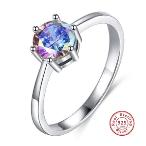 Fashion 925 Sterling Silver Female Finger Rings For Women Blue Zircon Crystal Wedding Jewelry Party Trendy Ring - thefashionique