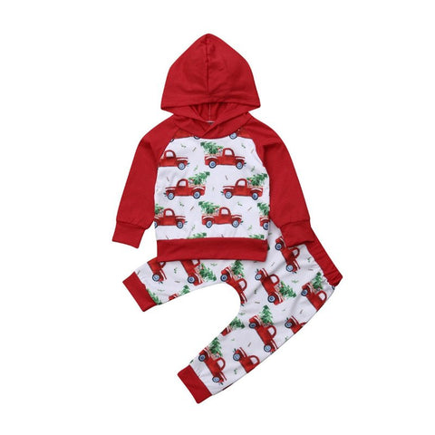 Fashion Baby Girl Boy Infant Xmas Costume Christmas Long Sleeve Hooded Tops Pants Outfit Newborn Baby Girl Bus Printed Tracksuit