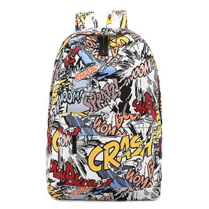 Fashion Backpack Cartoon Hip-hop Women Backpack Graffiti Canvas Backbag Mochilas Female Rucksack Bagpack 2019