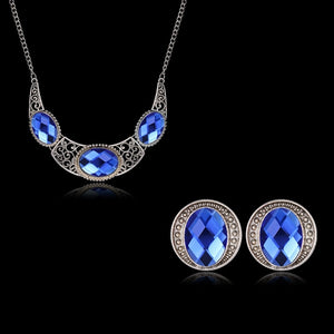 Fashion Blue Crystal Stone Wedding Jewelry Set Bride Silver Necklace Set for Women African Jewelery Set More S033-C - thefashionique