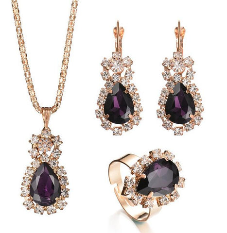 Fashion Blue Crystal Stone Wedding Jewelry Sets For Brides Golden Necklace Set For Women African Jewelry Sets & More - thefashionique