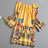 Fashion Bohemian Summer Dress Print Beach Vintage Sexy Female Vestidos Renda Casual Ladies Tops Clothes Women Robe Party Dresses - thefashionique