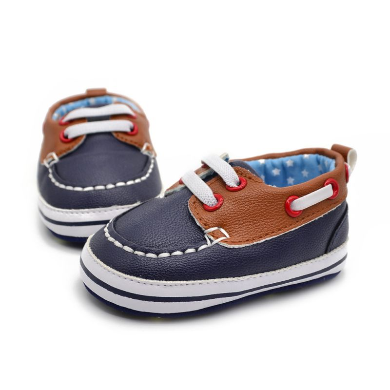 Fashion Boys Baby PU Leather Laces Up Crib Shoe Anti-Slip Prewalkers 0-18 Month - thefashionique