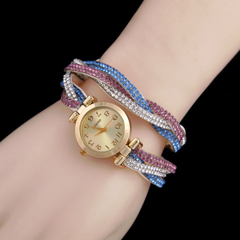 Fashion Braided Bracelets Bangles Quartz Wrist Watch 2018 Fashion Women Crystal Leather Strap Watch Jewelry Dropshipping