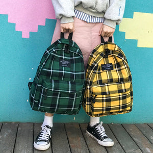 Fashion Canvas Backpack lattice Women Shoulder Bag Solid Color School Backpack Teenage Backbag Rucksack Women Bagpack Mochilas