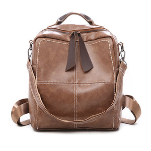 Fashion Casual Pu Shoulder Bag Girls Female Soft Multi-function Fashion Soft PU Leather Bag Backpack School Bags for Teenage - thefashionique
