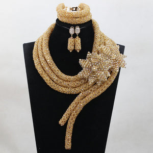 Fashion Champagne Gold Nigerian Wedding Party Beads Jewelry Set Crystal Costume Bridal Jewellery Set ANJ373