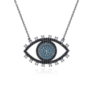 Fashion Cool Unique Design Eyes Pendant Necklace for Women Clear/Black Zirconia Crystal Girl Party Jewelry Gift black chain - thefashionique
