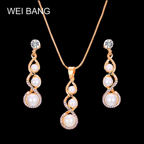 Fashion Crystal Stone Wedding Jewelry Sets For Brides Gold Color Necklace Set For Women African Jewelry Sets & More - thefashionique
