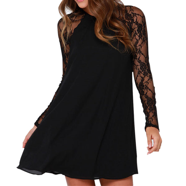 Fashion Elegant black dress Women Ladie Lace Chiffon Above Knee Mini Dress Loose Party Dress Spring Fall Casual Women's Clothing - thefashionique