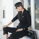 Fashion Full Sleeve Lace Up Jumpsuit Black Notched Women Work Business Ankle-length Pant Jumpsuits Slim Waist Long Playsuit 2018 - thefashionique