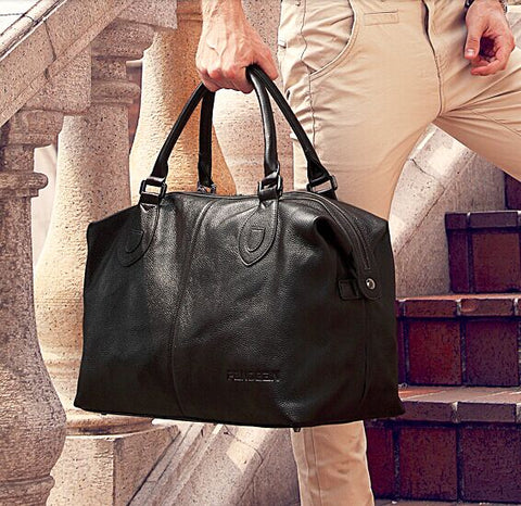 Fashion Genuine Leather men travel bag Carry on Luggage bag men Leather Duffel bag Overnight Weekend bag big Tote Handbag Black - thefashionique