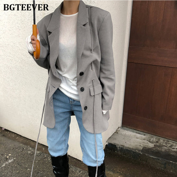 Fashion Gray Oversized Women Blazer Jackets Vintage Single-breasted Female Suit
