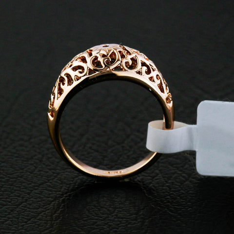 Fashion Hot Selling Flower Hollowing Craft Rose Gold Color Ring Jewelry High Quality Full Sizes Wholesale