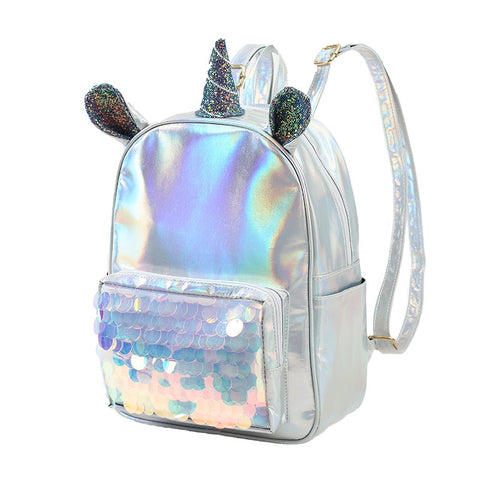 Fashion Leather Unicorn Backpack For Women Girls Clear Mermaid Sequins Travel Bag Teenager Student Schoolbag Mochila Feminina - thefashionique