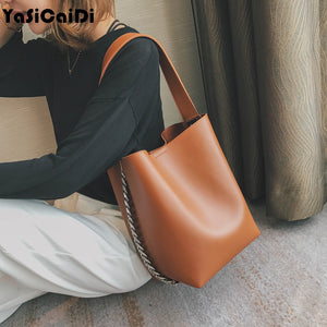 Fashion Leather women shoulder bag Large capacity Chain bucket Handbags Quality PU leather Women's Totes Shopping Women Handbag - thefashionique